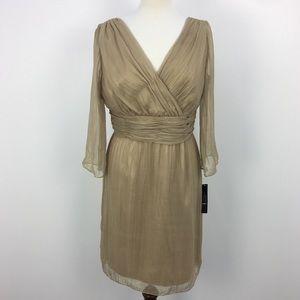 NWT Tahari Gold Metallic Long Sleeve Dress
